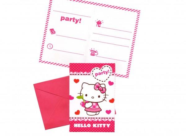 Hello Kitty Hearts Einladungen Kindergeburtstag | Firlefantastisch