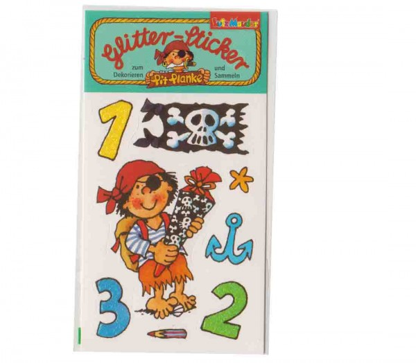 Glitter-Sticker Einschulung Pirat