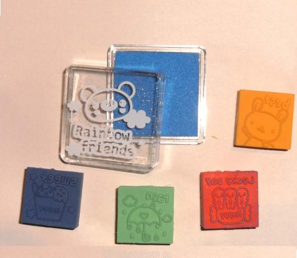 Radierer-Stempel-Set Blau