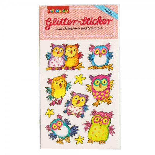 Glitter-Sticker Eulen