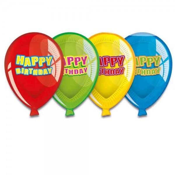 Ballon-Teller Happy Birthday 6St.