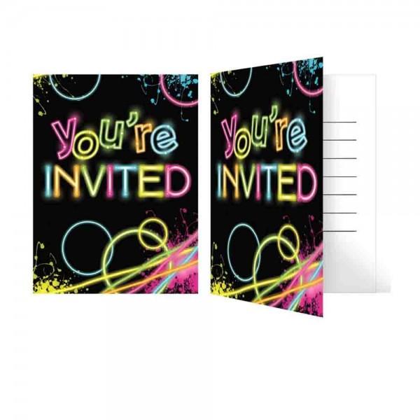 Einladungen für eine magischen Neon-Party