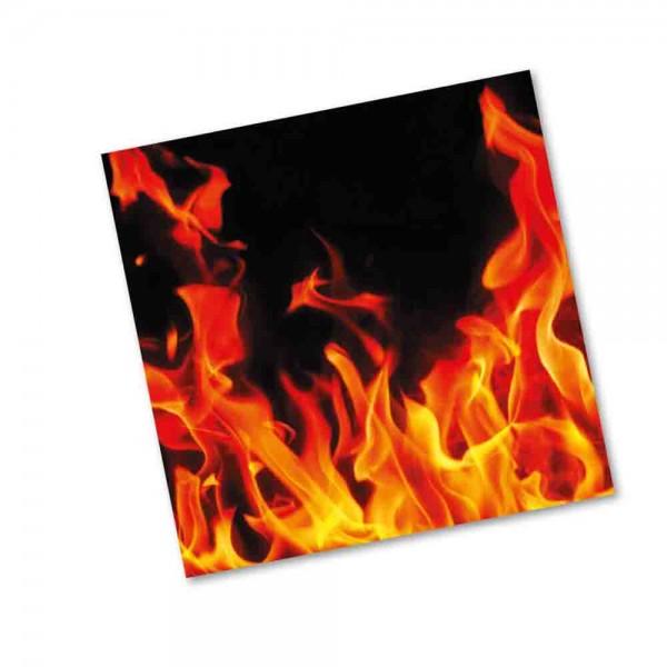 Servietten mit lodernden Flammen