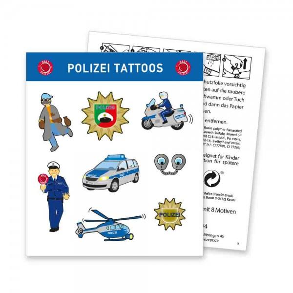 Tolle Tattoos für den Kindergeburtstag Polizei