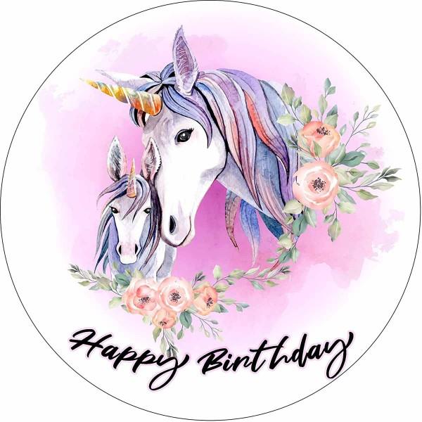 Essbarer Tortenaufleger Einhorn Happy Birthday