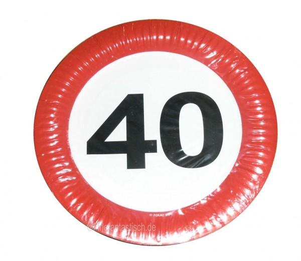 Teller mit Zahl 40