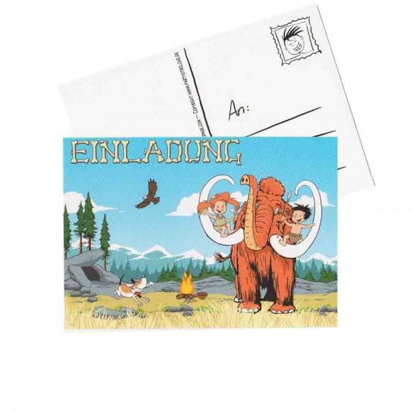 Einladungskarte Steinzeit-Kind Flo