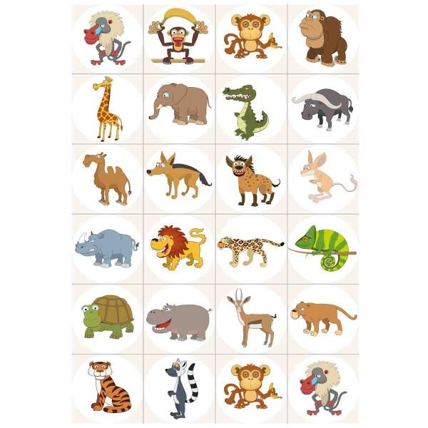 Lustige essbare Tierbilder für die Muffindekoration zum Thema Zoo.