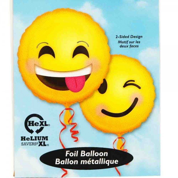 Folienballon mit 2 lachenden Gesichtern