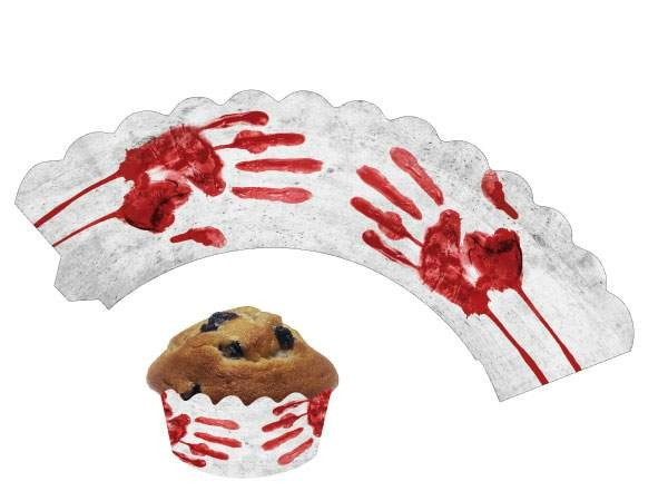 Cupcake Banderolen Blutige Hand 12St.