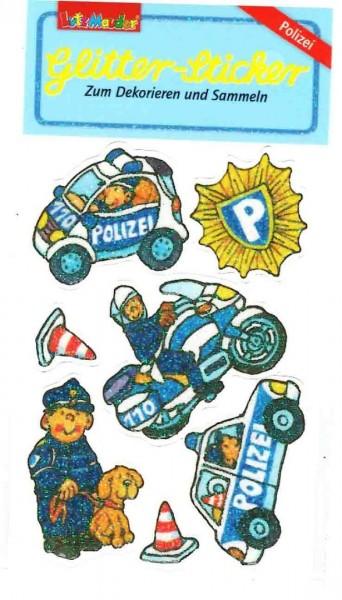 Glitter-Sticker Polizei