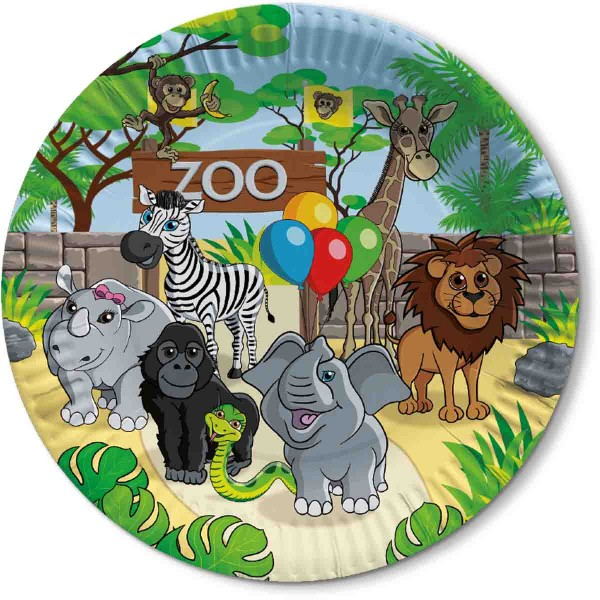 Farbenfrohe Teller zum Thema Zoo Geburtstag