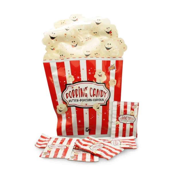 Tüte mit 10 knisternder Zuckerware mit Popcorn-Geschmack