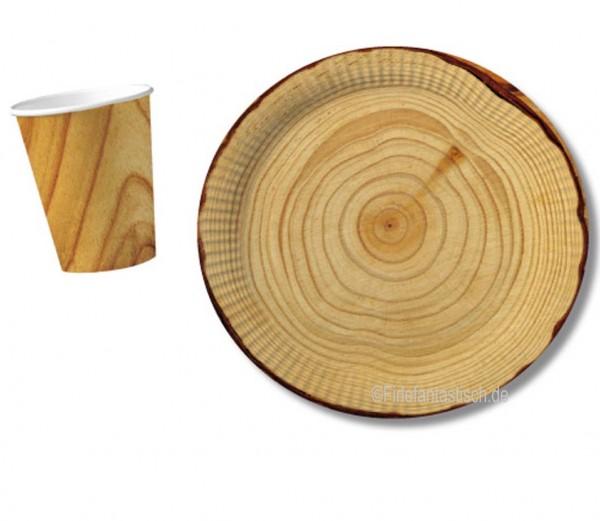 Ist das vielleicht doch Holz? Teller mit Baumstamm-Motiv