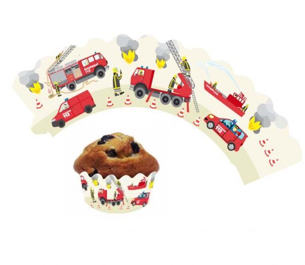 Cupcake Banderolen Feuerwehr 12St.