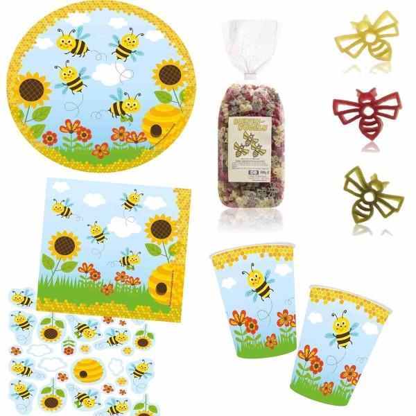 Partyset Biene mit Bienen-Nudeln, Teller, Becher, Serviette, Konfetti