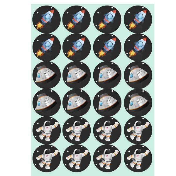 Essbare Muffinaufleger für den Weltraumgeburtstag zum Selbstausschneiden