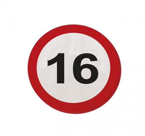 Runde Servietten mit Zahl 16