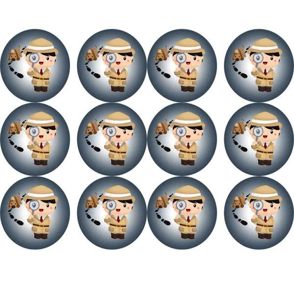 Essbare Muffinaufleger für den Kindergeburtstag Detektiv
