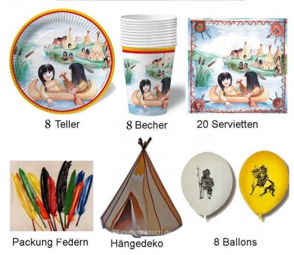 Indianer-Partyset für 8 Kinder
