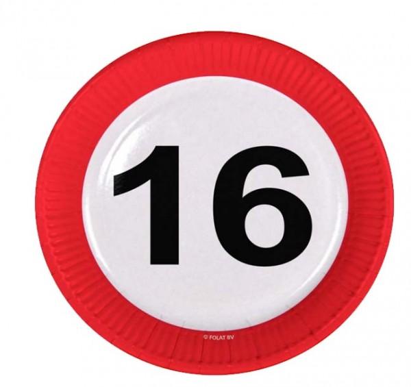 Teller mit Zahl 16
