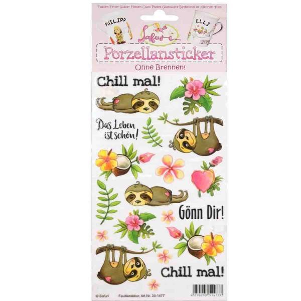 Porzellan-Sticker Faultier