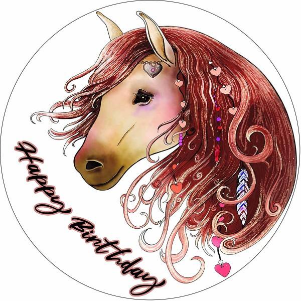 Essbarer Tortenaufleger Pferd Happy Birthday