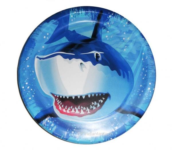 Teller mit Haifisch für die Unterwasserparty