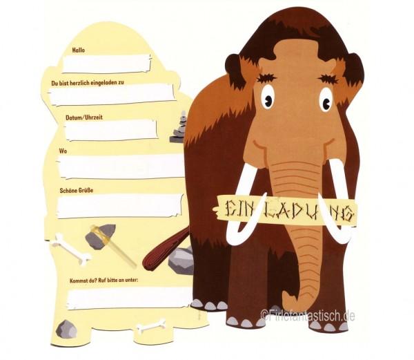 Mammut-Einladungen 6St.