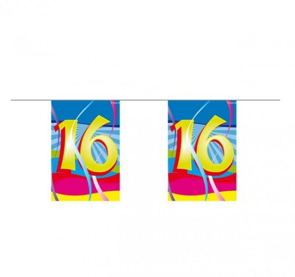 Mini-Flaggenkette mit Zahl 16
