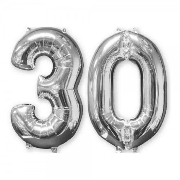 Folienballon Zahl 30 Silber 2tlg.
