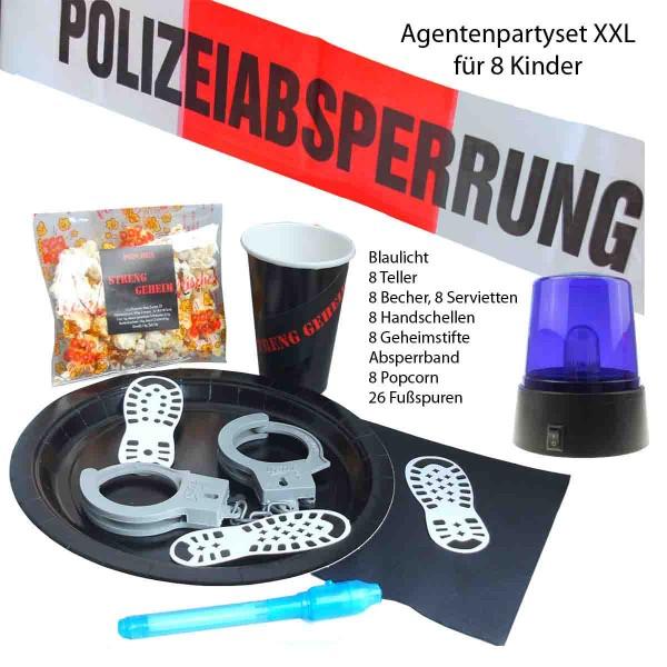 XXL Partyset für eine coole Agentenparty mit Blaulicht