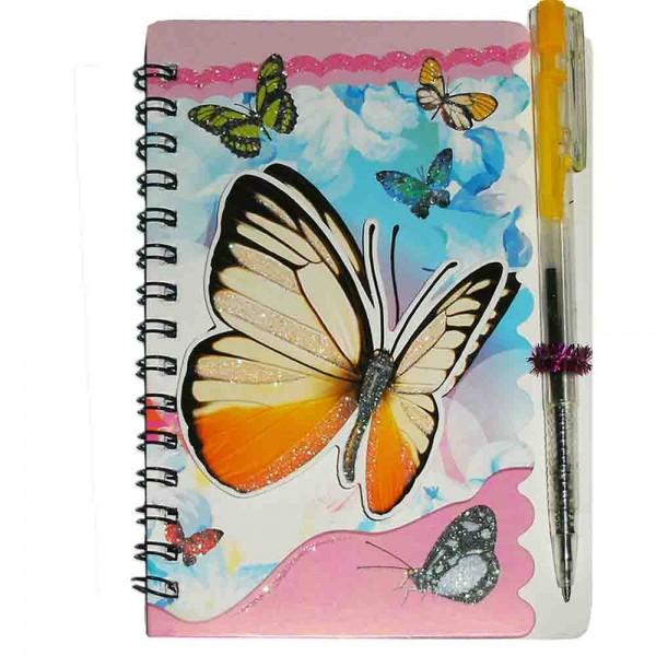 Notizblock Schmetterling mit Kugelschreiber