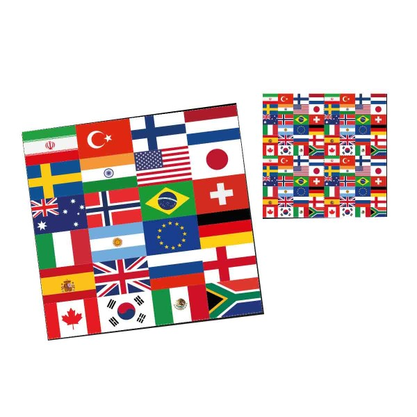 20 Servietten Länderflaggen 33x33 cm