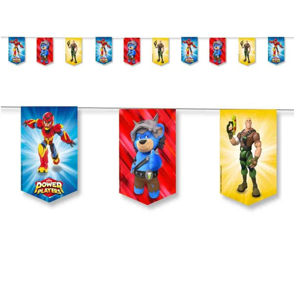 Wimpelkette für den Power Players Geburtstag, 3,5m
