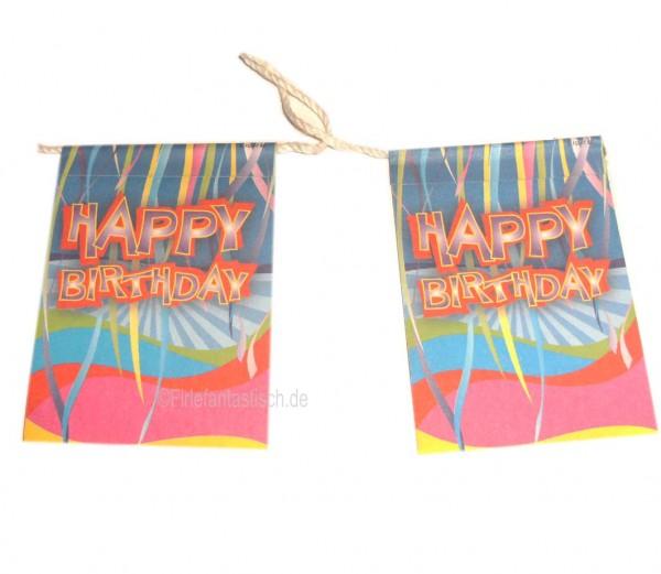 Mini-Flaggenkette Happy Birthday