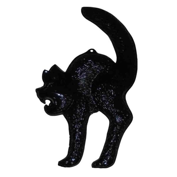 Gruselige schwarze Katze