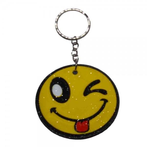 Lachendes Gesicht am Schlüsselring