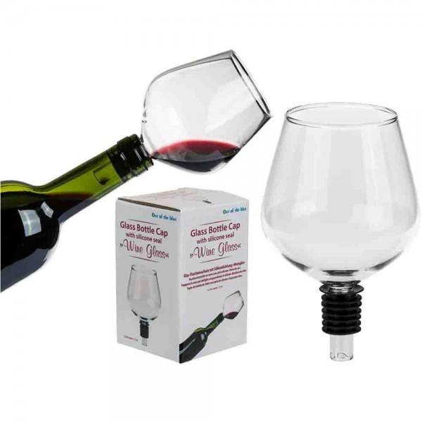 Witziges Weinglas für die Weinflasche.
