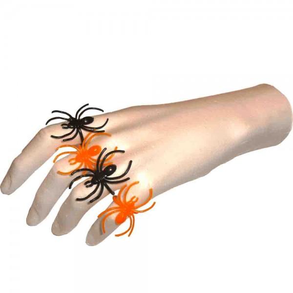 Spinnen-Fingerringe Schwarz/Orange