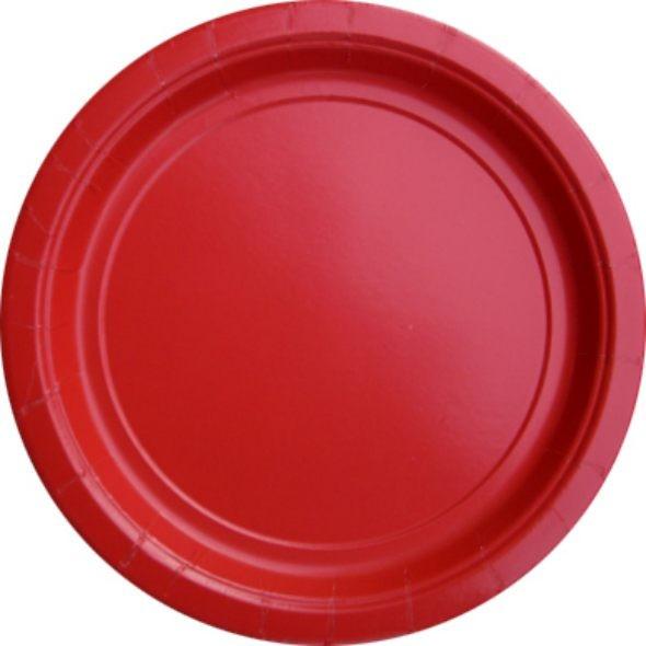 Unifarbene teller in Rot, z.B. für die Feuerwehrparty