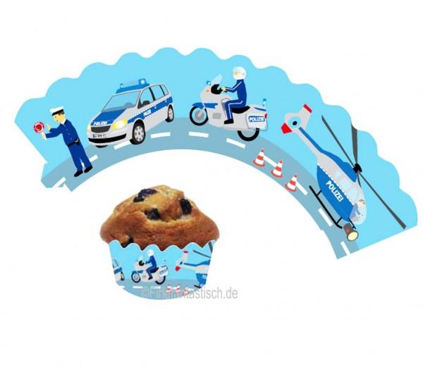 Cupcake Banderolen Polizei 12St.