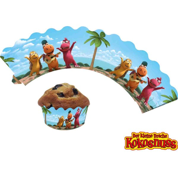 Muffinbanderolen zum Thema Drache Kokosnuss Geburtstag