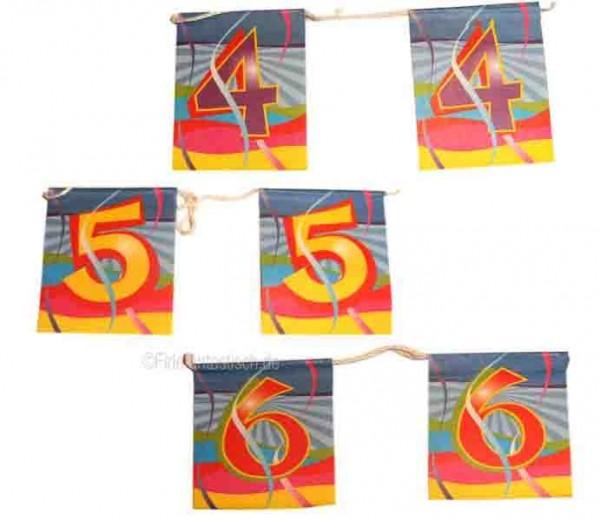 Mini-Flaggenkette mit Zahl