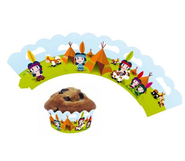 Cupcake Banderolen Indianer 12St.