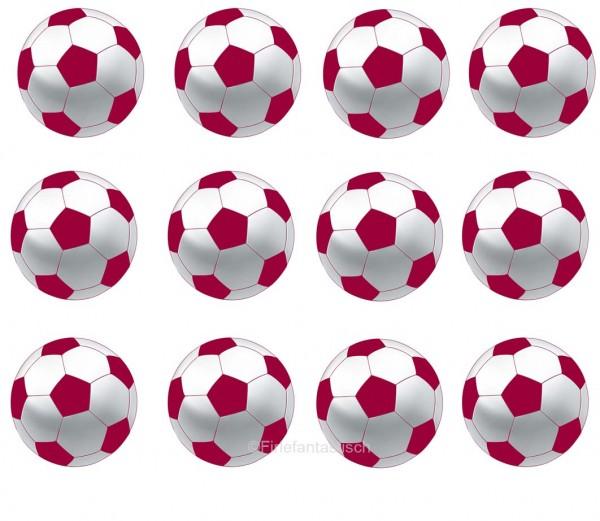 Muffinaufleger Fussball Rot Weiss 12stuck