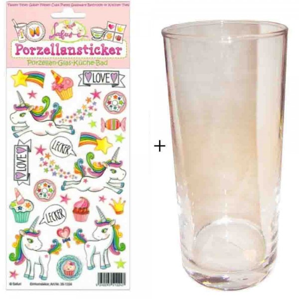 Porzellan-Sticker Einhorn + Trinkglas