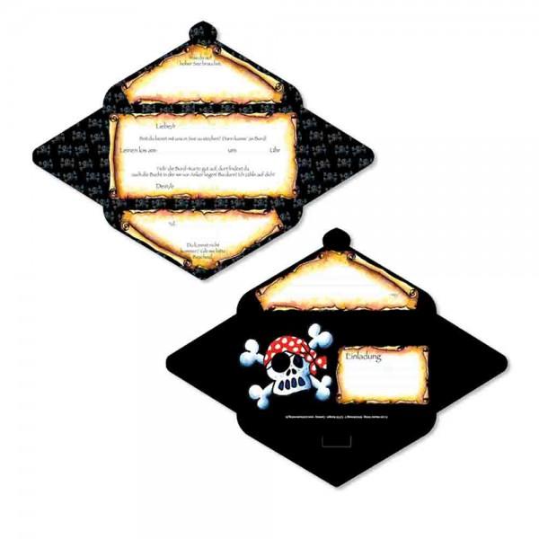 Einladungs-Set Piraten Jolly Roger mit Board-Karten und Tattoos