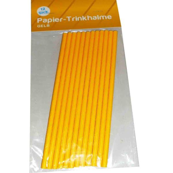 12 Gelbe Papiertrinkhalme