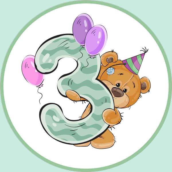 Tortenaufleger für den 3. Geburtstag